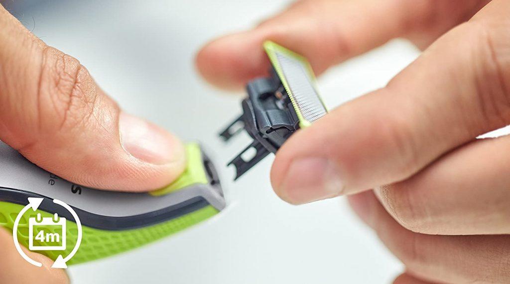 recambio Philips OneBlade QP253030 - Recortador de Barba con 4 Peines de 1,2,3,4,5 mm Longitudes, Incluye Cuchilla Adicional, Recorta, Perfila y Afeita, Recargable