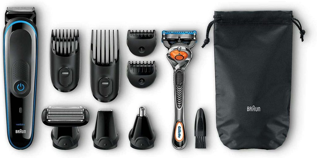 accesorios Braun MGK3080 - Set de afeitado multifunción 9 en 1, depiladora masculina, recortadora de barba, cortapelos profesional hombre, negro